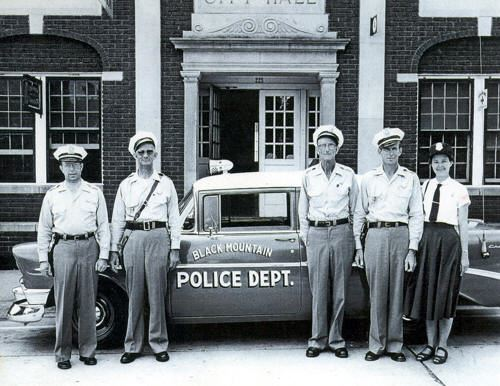 Black Mountain Police Department Members and Vehicle circa 1950s